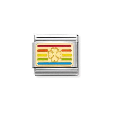 NOMINATION CLASSIC COMPOSABLE GOLD & ENAMEL RAINBOW FOUR LEAF CLOVER FLAG LINK