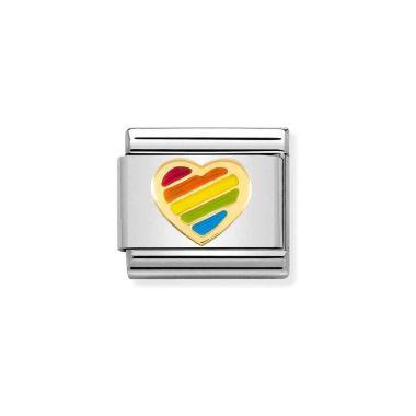 NOMINATION CLASSIC COMPOSABLE GOLD & ENAMEL RAINBOW HEART LINK