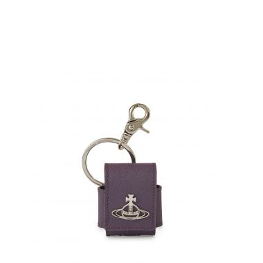 VIVIENNE WESTWOOD DEBBIE SMALL ROUNDED AIRPOD CASE IN PURPLE
