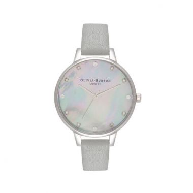 OLIVIA BURTON GREY MOTHER OF PEARL DEMI DIAL & SILVER WATCH