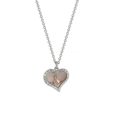 VIVIENNE WESTWOOD PETRA PENDENT SILVER AND PINK PEARL
