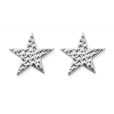 CHLOBO SILVER SPARKLE STAR STUD EARRINGS