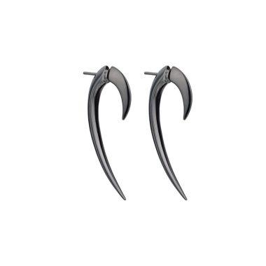 SHAUN LEANE SILVER BLACK RHODIUM HOOK EARRINGS