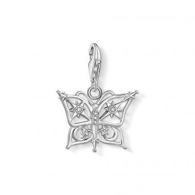 THOMAS SABO BUTTERFLY AND MOON SILVER CHARM
