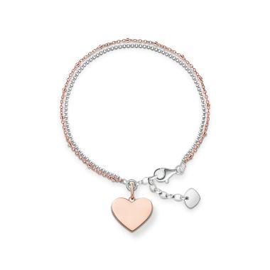 THOMAS SABO LOVE BRIDGE DOUBLE CHAIN HEART BRACELET