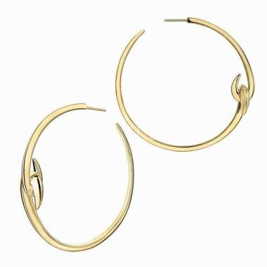 SHAUN LEANE HOOK YELLOW GOLD VERMEIL LARGE HOOP EARRINGS HT022.YVNAEOS