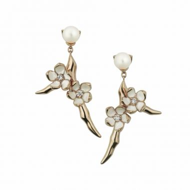 SHAUN LEANE CHERRY BLOSSOM ROSE GOLD VERMEIL DIAMOND PEARL SMALL BRANCH DROP EARRINGS
