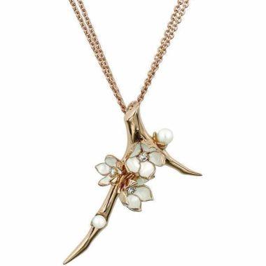 SHAUN LEANE CHERRY BLOSSOM ROSE GOLD VERMEIL 0.19CT DIAMOND PEARL FLOWER NECKLACE