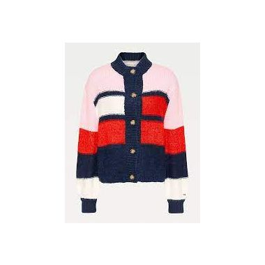 TOMMY JEANS COLOUR-BLOCKED HIGH NECK CARDIGAN
