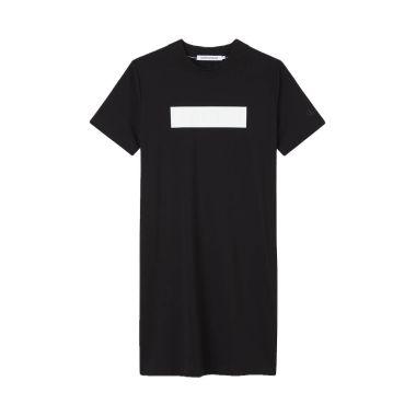 CALVIN KLEIN EMBOSSED LOGO T-SHIRT DRESS BLACK