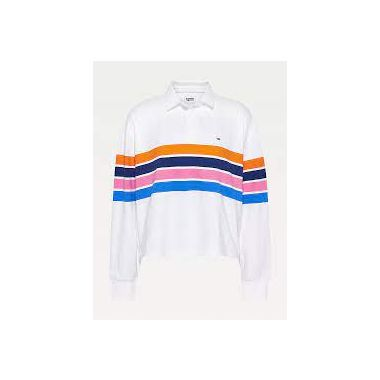 TOMMY JEANS JERSEY LONG SLEEVE CROPPED POLO WHITE