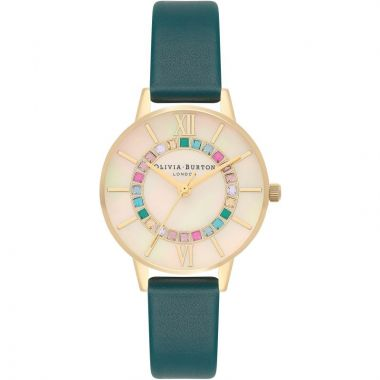 OLIVIA BURTON SPARKLE WONDERLAND MOTHER OF PEARL TEAL AND GOLD WATCH OB16WD99