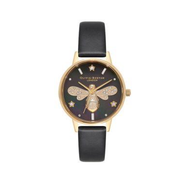 OLIVIA BURTON SPARKLE BEE BLACK AND GOLD WATCH OB16GB08
