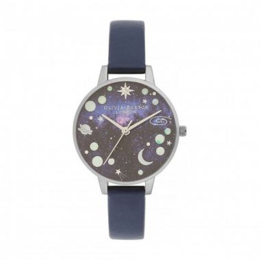 OLIVIA BURTON MIDI OPAL PLANET DIAL NAVY AND SILVER WATCH OB16GD82