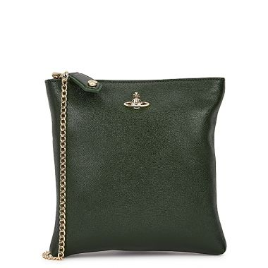 VIVIENNE WESTWOOD VICTORIA SQAURE CROSSBODY BAG WITH CHAIN GREEN