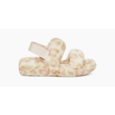 UGG OH YEAH PANTHER PRINT SILDERS WHITE 1120920
