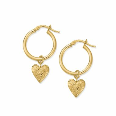 CHLOBO GOLD PATTERNED HEART HOOP EARRINGS