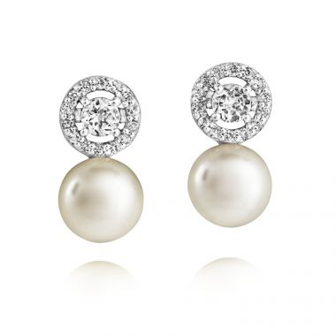 JERSEY PEARL SILVER AND PEARL AMBERLEY DROP EARRINGS