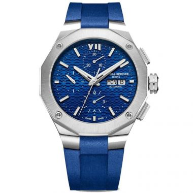 BAUME & MERCIER RIVIERA SILVER AND BLUE AUTOMATIC CHRONOGRAPH GENTS WATCH BM0A10623