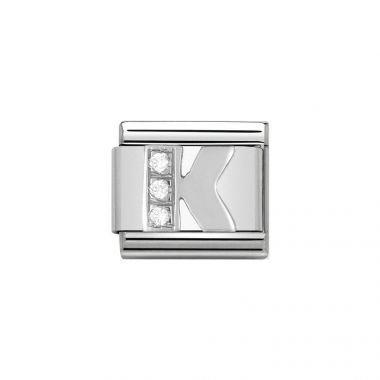 NOMINATION COMPOSABLE CLASSIC LINK LETTER K IN SILVER AND STONES
