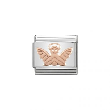 NOMINATION COMPOSABLE CLASSIC LINK ANGEL IN 9K ROSE