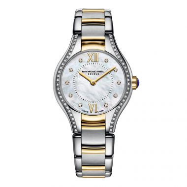 RAYMOND WEIL LADIES GOLD TONE NOEMIA 24MM DIAMOND WATCH WITH MOTHER OF PEARL FACE