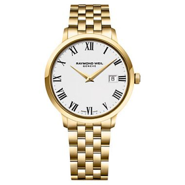 RAYMOND WEIL GENT'S GOLD TONE TOCCATA 39MM WATCH WITH WHITE FACE