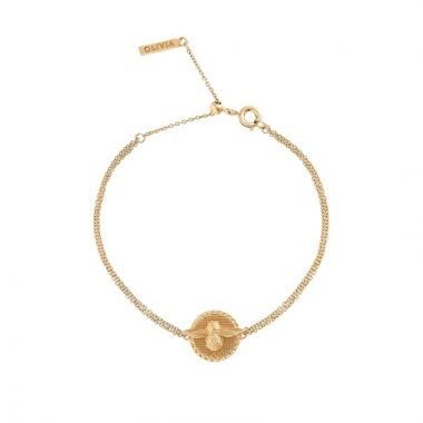 OLIVIA BURTON 3D BEE DISC CHAIN BRACELET GOLD