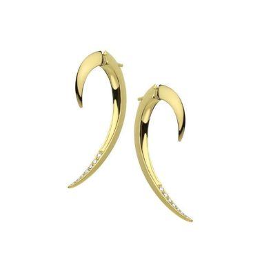 SHAUN LEANE YELLOW GOLD VERMEIL DIAMOND HOOK EARRINGS