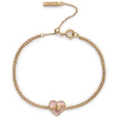 OLIVIA BURTON LOVE BUG CHAIN BRACELET PINK AND GOLD