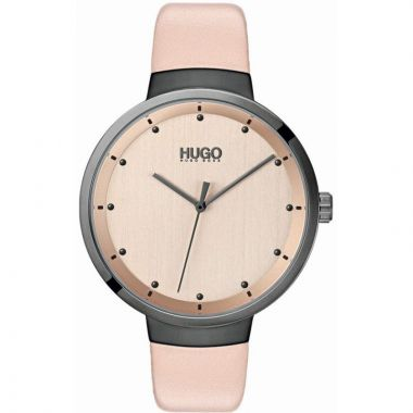 HUGO BY HUGO BOSS #GO LADIES PINK LEATHER STRAP WATCH
