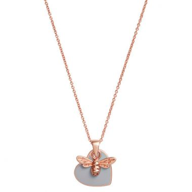 OLIVIA BURTON YOU HAVE MY HEART NECKLACE ROSE GOLD & GREY