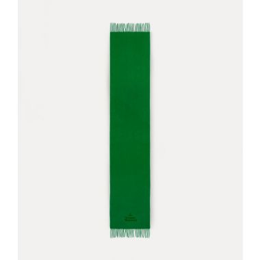 VIVIENNE WESTWOOD EMBROIDERED LAMBSWOOL SCARF GREEN