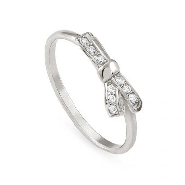 NOMINATION SILVER RING BOW SYMBOL WITH STONES