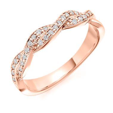 18CT ROSE GOLD DIAMOND TWIST WEDDING RING