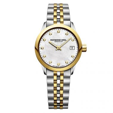 RAYMOND WEIL LADIES MINI FREELANCER STAINLESS STEEL AND GOLD PVD PLATED DIAMOND WATCH
