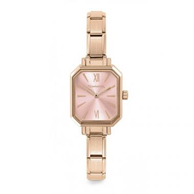 NOMINATION CLASSIC COMPOSABLE RECTANGLE WATCH IN ROSE GOLD WITH PINK DIAL