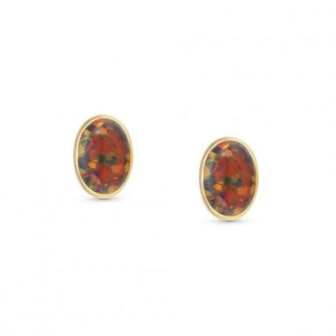 NOMINATION OVAL EARRINGS 'RED OPAL'