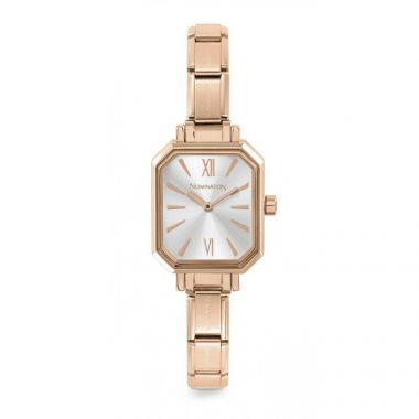NOMINATION CLASSIC COMPOSABLE RECTANGLE WATCH IN ROSE GOLD WITH SILVER DIAL