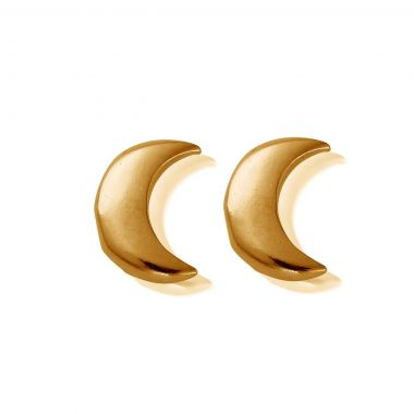 CHLOBO GOLD STUD MOON EARRINGS