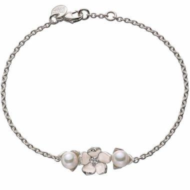 SHAUN LEANE SILVER CHERRY BLOSSOM SINGLE DIAMOND AND PEARL BRACELET