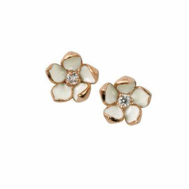 SHAUN LEANE ROSE GOLD VERMEIL CHERRY BLOSSOM DIAMOND FLOWER EARRINGS