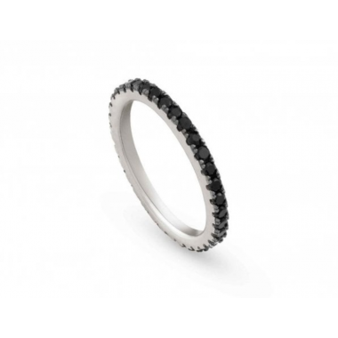 NOMINATION EASYCHIC RING IN SILVER AND BLACK CZ