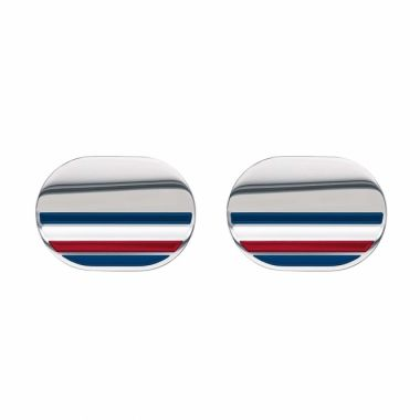 TOMMY HILFIGER GENT'S STAINLESS STEEL OVAL CUFFLINKS WITH STRIPE DETAIL