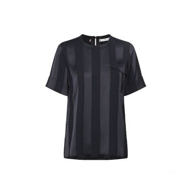 TOMMY HILFIGER STRIPED SHORT SLEEVE BLOUSE IN NAVY