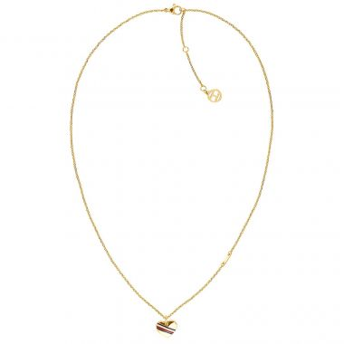 TOMMY HILFIGER LADIES' HEART GOLD TONE NECKLACE