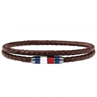 TOMMY HILFIGER GENTS' DOUBLE LEATHER WRAP BRACELET IN BROWN