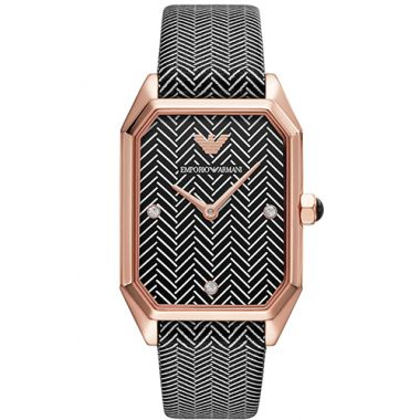 EMPORIO ARMANI LADIES TWO-HAND BLACK LEATHER WATCH