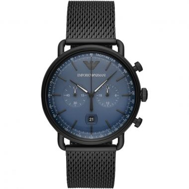 EMPORIO ARMANI GENT'S BLACK MESH AND BLUE DIAL WATCH