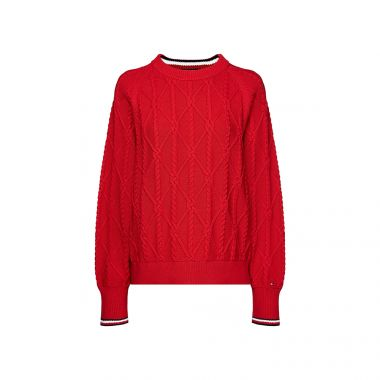 TOMMY HILFIGER ESSENTIAL ORGANIC KNOT JUMPER PRIMARY RED